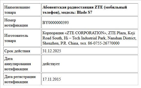 Абонентская радиостанция ZTE (мобильный телефон), модель: Blade S7