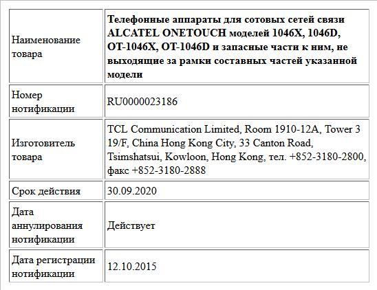 Телефонные аппараты для сотовых сетей связи ALCATEL ONETOUCH моделей 1046X, 1046D, OT-1046X, OT-1046D и запасные части к ним, не выходящие за рамки составных частей указанной модели