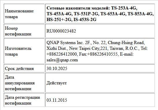 Сетевые накопители моделей: TS-253A-4G, TS-453A-4G, TS-531P-2G, TS-653A-4G, TS-853A-4G, HS-251+-2G, IS-453S-2G
