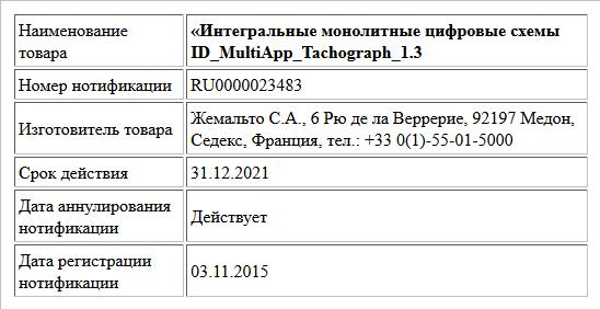 «Интегральные монолитные цифровые схемы  ID_MultiApp_Tachograph_1.3