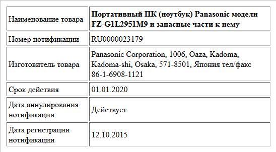 Портативный ПК (ноутбук) Panasonic модели FZ-G1L2951M9 и запасные части к нему