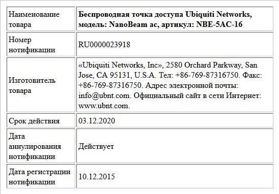 Беспроводная точка доступа Ubiquiti Networks, модель: NanoBeam ac, артикул: NBE-5AC-16
