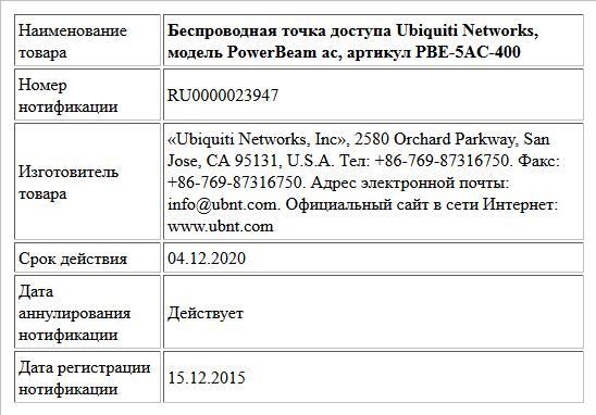 Беспроводная точка доступа Ubiquiti Networks, модель PowerBeam ac, артикул PBE-5AC-400