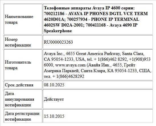 Телефонные аппараты Avaya IP 4600 серии:   700212186 - AVAYA IP PHONES DGTL VCE TERM 4620D01A;   700257934 - PHONE IP TERMINAL 4602SW D02A-2001;   700411168 - Avaya 4690 IP Speakerphone