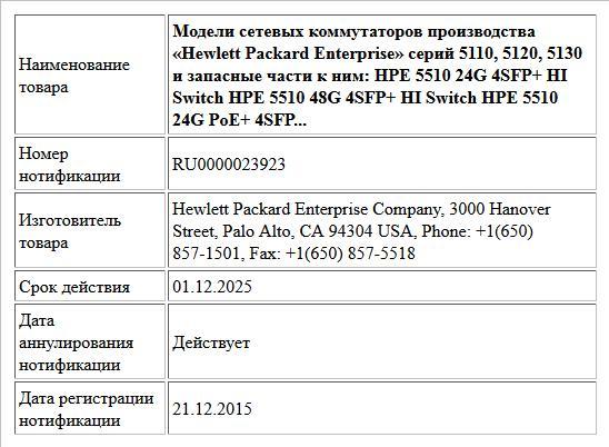 Модели сетевых коммутаторов производства «Hewlett Packard Enterprise» серий 5110, 5120, 5130 и запасные части к ним:  HPE 5510 24G 4SFP+ HI Switch  HPE 5510 48G 4SFP+ HI Switch  HPE 5510 24G PoE+ 4SFP...