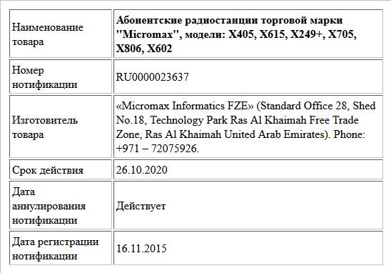 Абонентские радиостанции торговой марки ''Micromax'', модели: X405, X615, X249+, X705, X806, X602