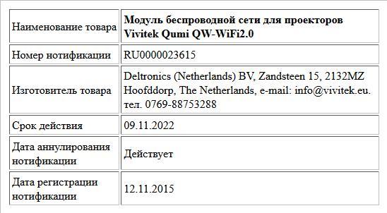 Модуль беспроводной сети  для проекторов Vivitek Qumi QW-WiFi2.0