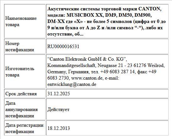 """Акустические системы торговой марки CANTON, модели: MUSICBOX XX, DM9, DM50, DM900, DM-XX где «Х» - не более 5 символов (цифра от 0 до 9 и/или буква от A до Z и /или символ """"-""""), либо их отсутствие, об..."""