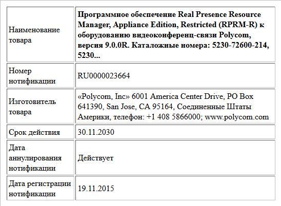 Программное обеспечение Real Presence Resource Manager, Appliance Edition,   Restricted (RPRM-R) к оборудованию видеоконференц-связи Polycom,   версия 9.0.0R.  Каталожные номера:  5230-72600-214, 5230...
