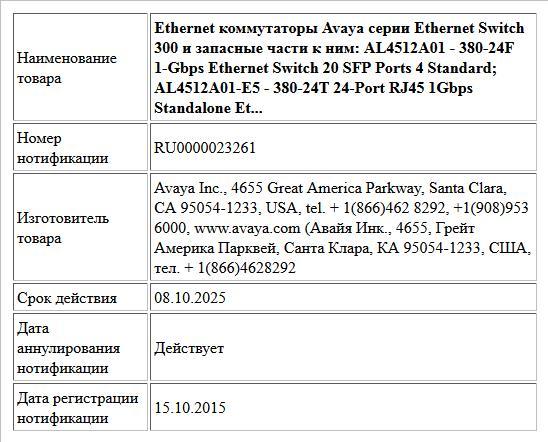 Ethernet коммутаторы Avaya серии Ethernet Switch 300 и запасные части к ним: AL4512A01 - 380-24F 1-Gbps Ethernet Switch 20 SFP Ports 4 Standard; AL4512A01-E5 - 380-24T 24-Port RJ45 1Gbps Standalone Et...