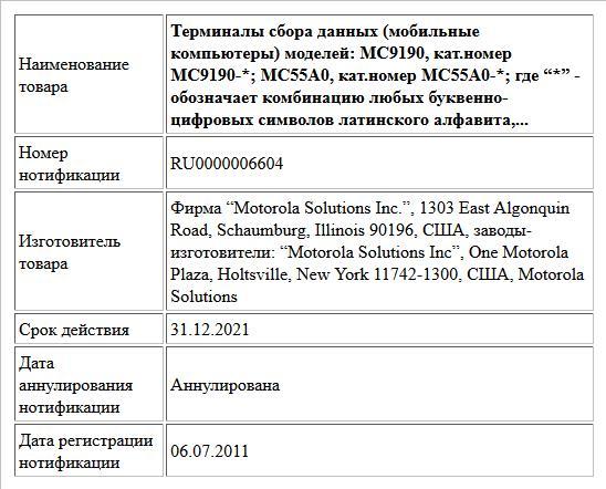 """Терминалы сбора данных (мобильные компьютеры) моделей: MC9190, кат.номер MC9190-*; MC55A0, кат.номер MC55A0-*; где """"*"""" -  обозначает комбинацию любых буквенно-цифровых символов латинского алфавита,..."""