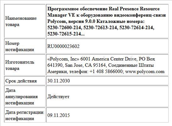 Программное обеспечение Real Presence Resource Manager VE к оборудованию видеоконференц-связи Polycom, версия 9.0.0  Каталожные номера:   5230-72600-214, 5230-72613-214, 5230-72614-214, 5230-72615-214...