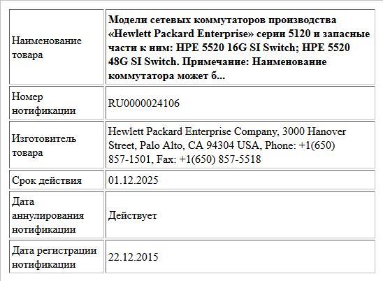 Модели сетевых коммутаторов производства «Hewlett Packard Enterprise» серии 5120 и запасные части к ним:  HPE 5520 16G SI Switch;  HPE 5520 48G SI Switch.  Примечание: Наименование коммутатора может б...