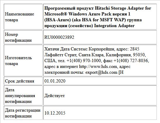Программный продукт Hitachi Storage Adapter for Microsoft® Windows Azure Pack версия 1 (HSA-Azure) (aka HSA for MSFT WAP) группа продукции (семейство) Integration Adapter
