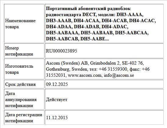 Портативный абонентский радиоблок радиостандарта DECT, модели:  DH3-AAAA, DH3-AAAB, DH4-ACAA, DH4-ACAB, DH4-ACAC, DH4-ADAA, DH4-ADAB, DH4-ADAC, DH5-AABAAA, DH5-AABAAB, DH5-AABCAA, DH5-AABCAB, DH5-AABE...