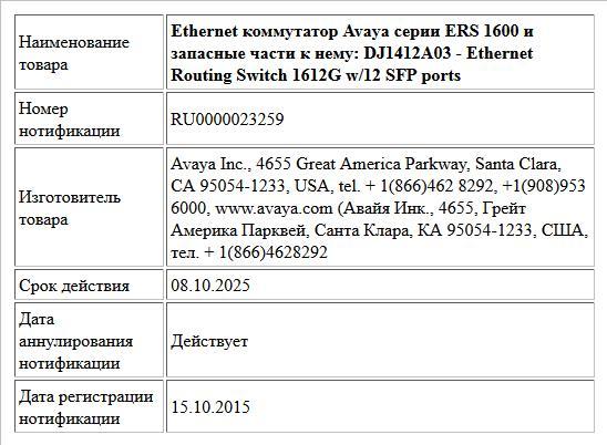 Ethernet коммутатор Avaya серии ERS 1600 и запасные части к нему: DJ1412A03 -  Ethernet Routing Switch 1612G w/12 SFP ports