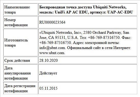 Беспроводная точка доступа Ubiquiti Networks, модель: UniFi AP AC EDU, артикул: UAP-AC-EDU