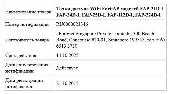 Точки доступа WiFi FortiAP моделей FAP-21D-I, FAP-24D-I,   FAP-25D-I, FAP-112D-I, FAP-224D-I