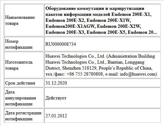 Оборудование коммутации и маршрутизации пакетов информации моделей Eudemon 200Е-Х1, Eudemon 200E-X2, Eudemon 200E-X1W, Eudemon200E-X1AGW, Eudemon 200E-X2W, Eudemon 200E-X3, Eudemon 200E-X5, Eudemon 20...