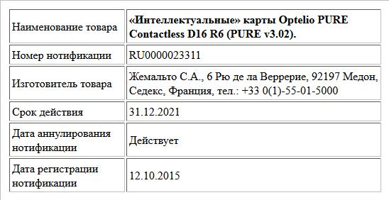 «Интеллектуальные» карты Optelio PURE Contactless D16 R6 (PURE v3.02).