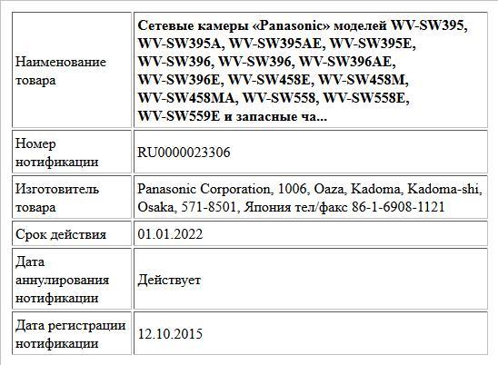 Сетевые камеры «Panasonic» моделей WV-SW395, WV-SW395A, WV-SW395AE, WV-SW395E, WV-SW396, WV-SW396, WV-SW396AE, WV-SW396E, WV-SW458E, WV-SW458M, WV-SW458MA, WV-SW558, WV-SW558E, WV-SW559E и запасные ча...