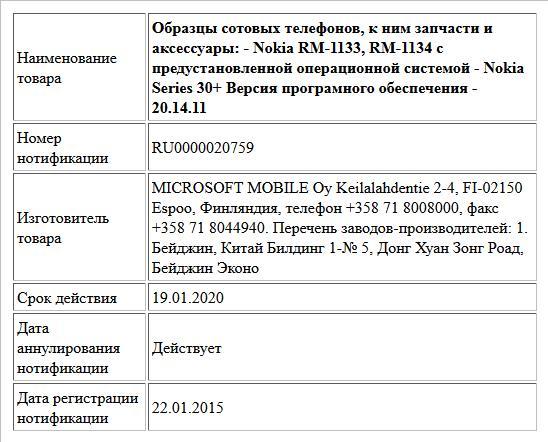 Образцы сотовых телефонов, к ним запчасти и аксессуары: - Nokia RM-1133, RM-1134 с предустановленной операционной системой - Nokia Series 30+ Версия програмного обеспечения - 20.14.11