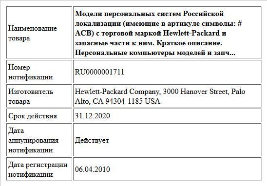 Модели персональных систем Российской локализации (имеющие в артикуле символы: # ACB) с торговой маркой Hewlett-Packard и запасные части к ним. Краткое описание. Персональные компьютеры моделей и запч...