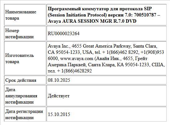 Программный коммутатор для протокола SIP (Session Initiation Protocol) версии 7.0:   700510787 – Avaya AURA SESSION MGR R.7.0 DVD