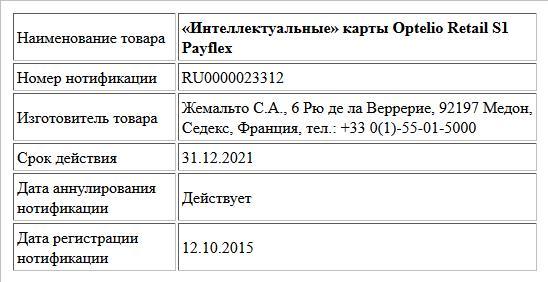 «Интеллектуальные» карты Optelio Retail S1 Payflex