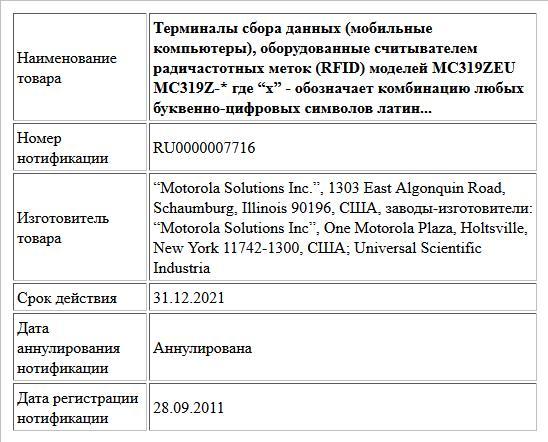 """Терминалы сбора данных (мобильные компьютеры), оборудованные считывателем радичастотных меток (RFID) моделей MC319ZEU MC319Z-* где """"x"""" -  обозначает комбинацию любых буквенно-цифровых символов латин..."""