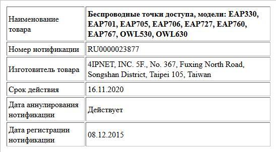 Беспроводные точки доступа, модели: EAP330, EAP701, EAP705, EAP706, EAP727, EAP760, EAP767, OWL530, OWL630