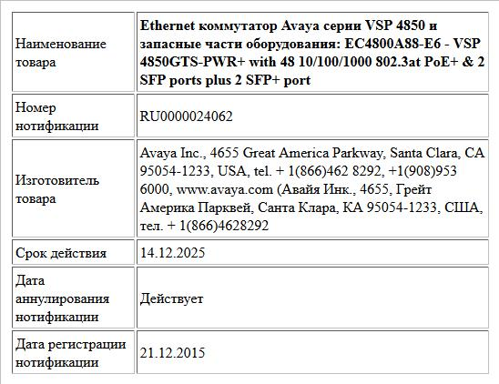 Ethernet коммутатор Avaya серии VSP 4850 и запасные части оборудования:     EC4800A88-E6 - VSP 4850GTS-PWR+ with 48 10/100/1000 802.3at PoE+ & 2 SFP ports plus 2 SFP+ port
