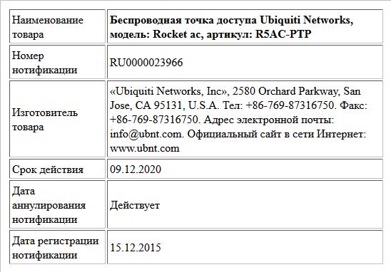 Беспроводная точка доступа Ubiquiti Networks, модель: Rocket ac, артикул: R5AC-PTP