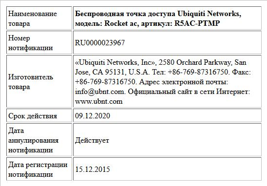 Беспроводная точка доступа Ubiquiti Networks, модель: Rocket ac, артикул: R5AC-PTMP