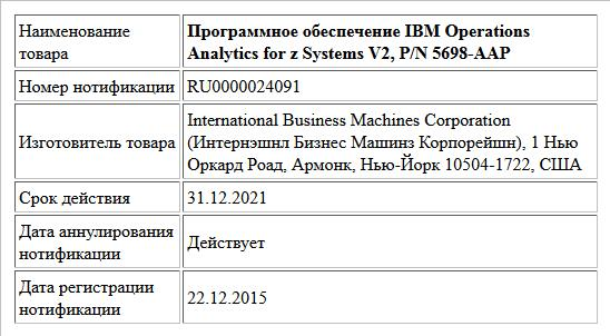 Программное обеспечение IBM Operations Analytics for z Systems V2, P/N 5698-AAP