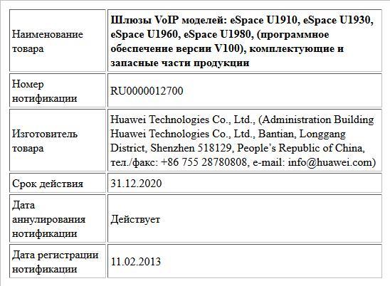 Шлюзы VoIP моделей: eSpace U1910, eSpace U1930, eSpace U1960, eSpace U1980,  (программное обеспечение версии V100), комплектующие и запасные части продукции