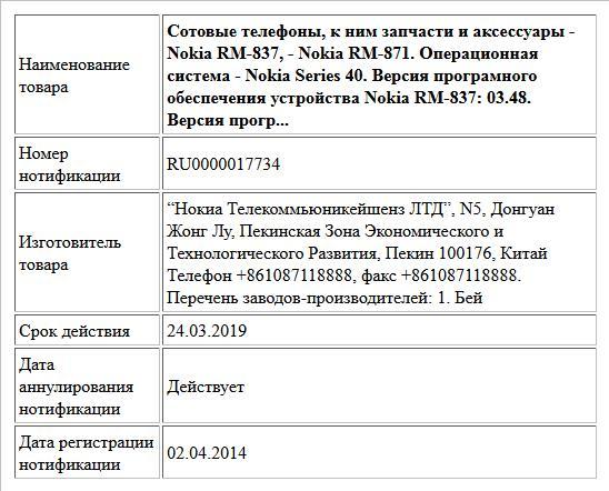 Сотовые телефоны, к ним запчасти и аксессуары - Nokia RM-837, - Nokia RM-871. Операционная система - Nokia Series 40.  Версия програмного обеспечения устройства  Nokia RM-837: 03.48. Версия прогр...