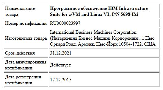Программное обеспечение IBM Infrastructure Suite for z/VM and Linux V1, P/N 5698-IS2