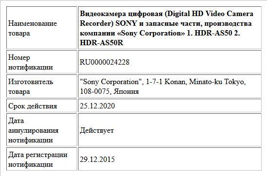 Видеокамера цифровая (Digital HD Video Camera Recorder) SONY и запасные части, производства компании «Sony Corporation»    1. HDR-AS50  2. HDR-AS50R