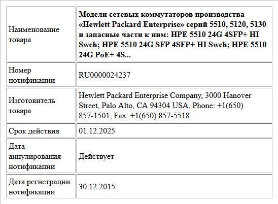 Модели сетевых коммутаторов производства «Hewlett Packard Enterprise» серий 5510, 5120, 5130 и запасные части к ним:  HPE 5510 24G 4SFP+ HI Swch;  HPE 5510 24G SFP 4SFP+ HI Swch;  HPE 5510 24G PoE+ 4S...