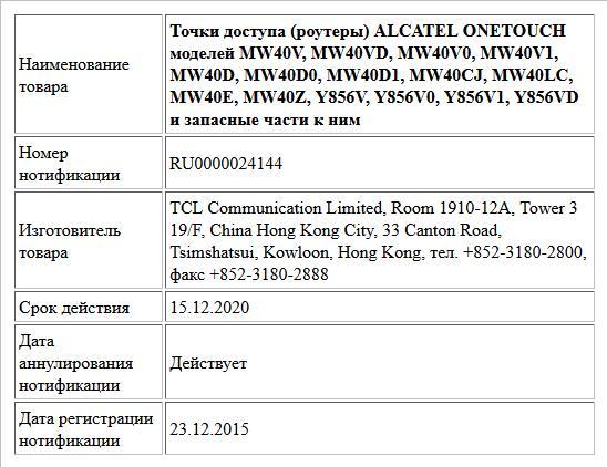 Точки доступа (роутеры) ALCATEL ONETOUCH моделей MW40V, MW40VD, MW40V0, MW40V1, MW40D, MW40D0, MW40D1, MW40CJ, MW40LC, MW40E, MW40Z, Y856V, Y856V0, Y856V1, Y856VD и запасные части к ним