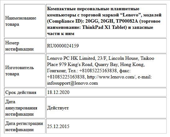 """Компактные персональные планшетные компьютеры с торговой маркой """"Lenovo"""", моделей (Compliance ID): 20GG, 20GH, TP00082A (торговое наименование: ThinkPad X1 Tablet) и запасные части к ним"""
