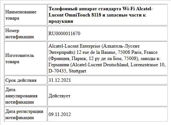 Телефонный аппарат стандарта Wi-Fi Alcatel-Lucent OmniTouch 8118 и запасные части к продукции