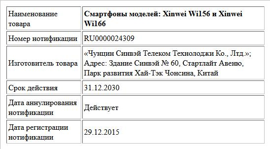 Смартфоны моделей: Xinwei Wi156 и Xinwei Wi166