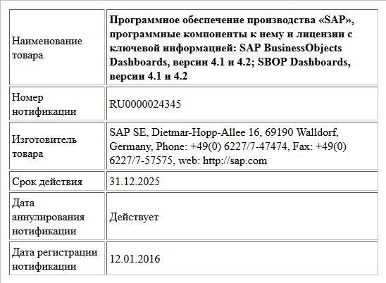 Программное обеспечение производства «SAP», программные компоненты к нему и лицензии с ключевой информацией:  SAP BusinessObjects Dashboards, версии 4.1 и 4.2;  SBOP Dashboards, версии 4.1 и 4.2