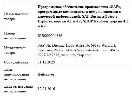 Программное обеспечение производства «SAP», программные компоненты к нему и лицензии с ключевой информацией:  SAP BusinessObjects Explorer, версии 4.1 и 4.2;  SBOP Explorer, версии 4.1 и 4.2