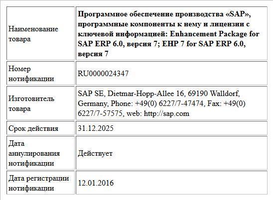 Программное обеспечение производства «SAP», программные компоненты к нему и лицензии с ключевой информацией:  Enhancement Package for SAP ERP 6.0, версия 7; EHP 7 for SAP ERP 6.0, версия 7
