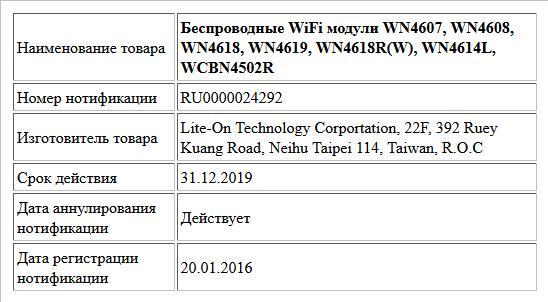 Беспроводные WiFi модули WN4607, WN4608, WN4618, WN4619, WN4618R(W), WN4614L, WCBN4502R