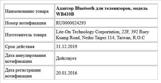 Адаптер Bluetooth для телевизоров, модель WB410B