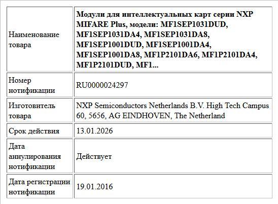 Модули для интеллектуальных карт серии NXP MIFARE Plus, модели:    MF1SEP1031DUD, MF1SEP1031DA4, MF1SEP1031DA8,  MF1SEP1001DUD, MF1SEP1001DA4, MF1SEP1001DA8, MF1P2101DA6, MF1P2101DA4, MF1P2101DUD, MF1...